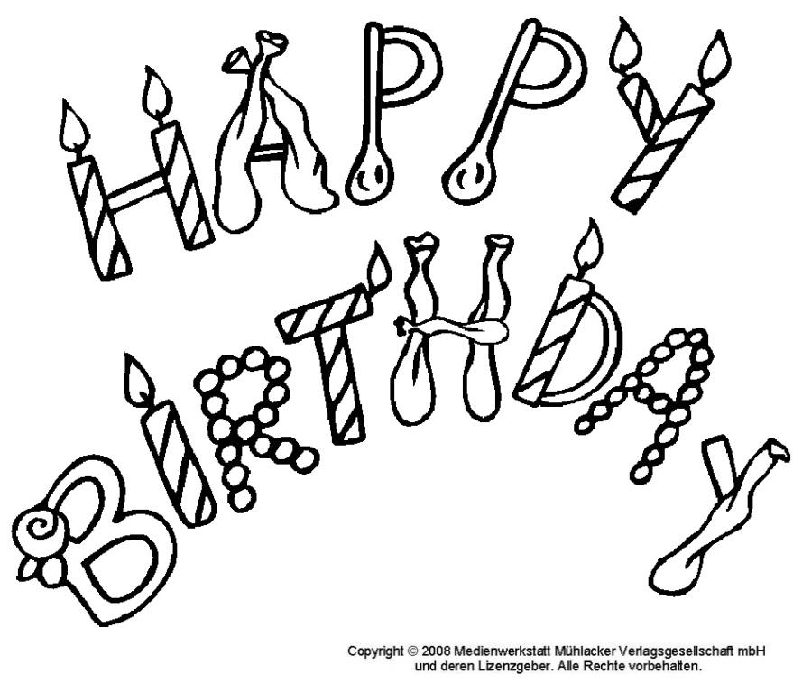 Happy birthday - umrissschrift zum ausmalen