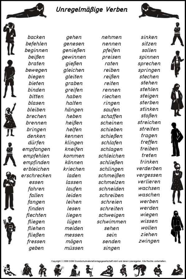 regelmaessige verben liste deutsch