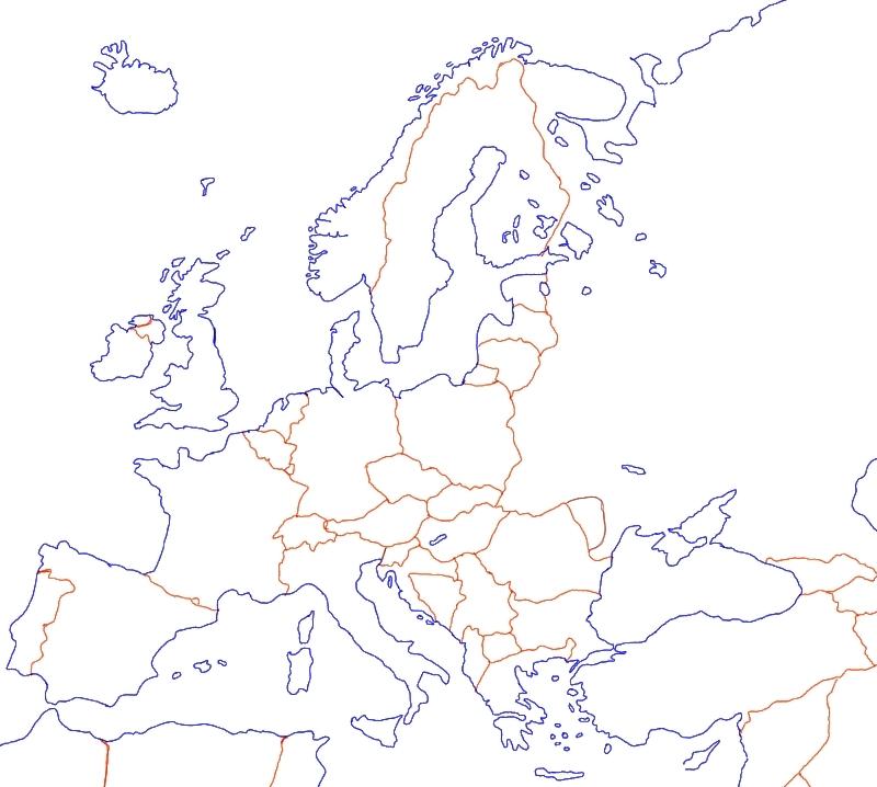 Europakarte Unbeschriftet