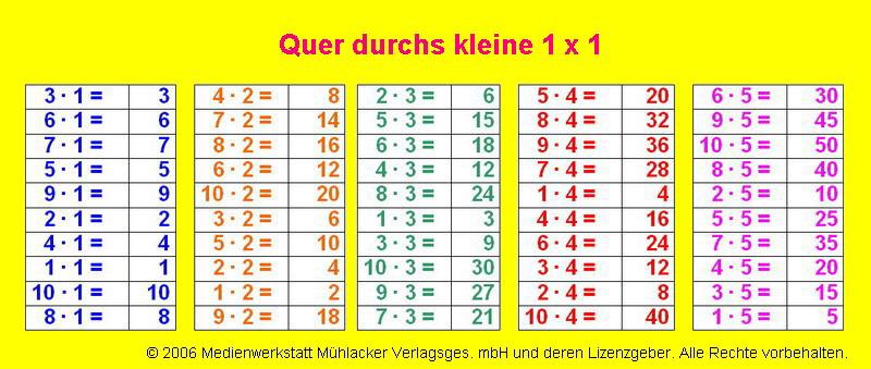 Quer durchs kleine 1 x 1 - Teil 1 - Lu00f6sung - Medienwerkstatt-Wissen u00a9 2006-2017 Medienwerkstatt