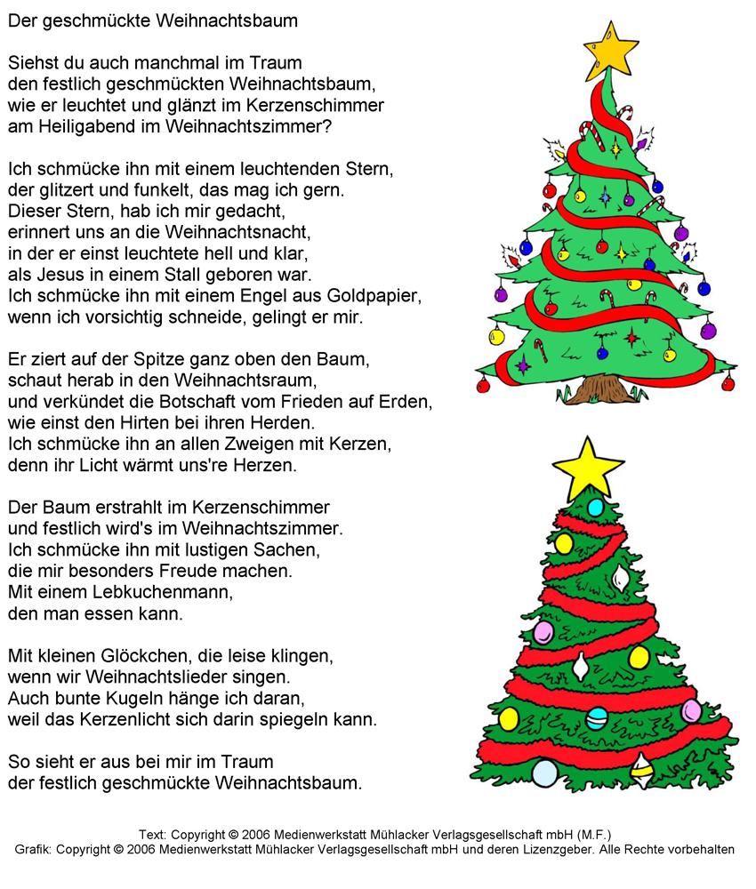 Gedicht der geschmuckte weihnachtsbaum