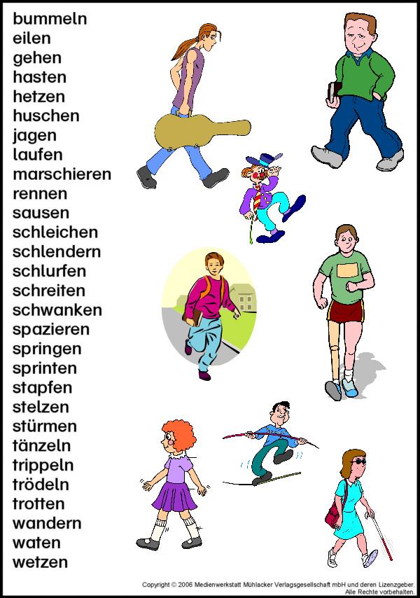 Arbeitsblatt Vorschule anderes wort für gehen : Wortfeld: gehen - laufen - Medienwerkstatt-Wissen u00a9 2006-2017 Medienwerkstatt