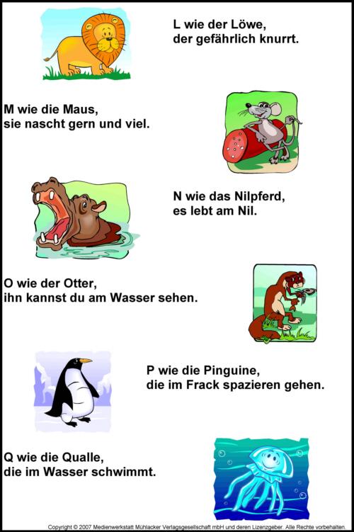 Tier Abc Reime Von A Bis Z Medienwerkstatt Wissen