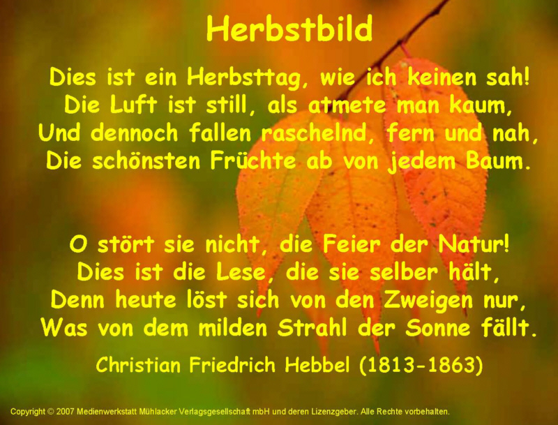 Herbstbild (Friedrich Hebbel) Hu00f6rbeispiel ...