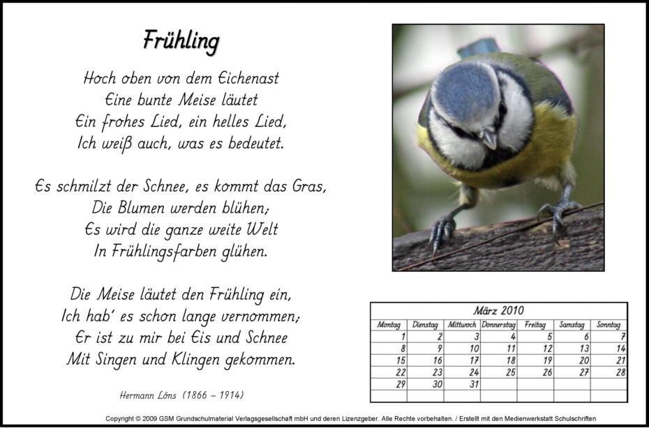 Gedicht-Kalender: März 2010 - Medienwerkstatt-Wissen © 2006-2015 ...