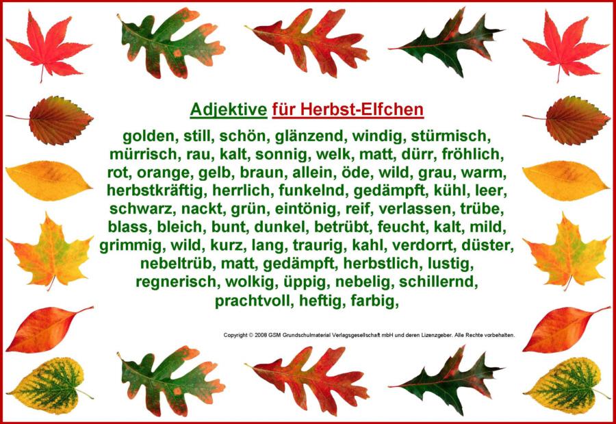 Adjektive Für Herbstelfchen