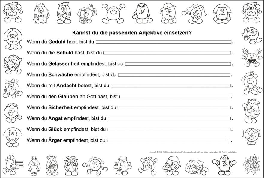 Nomen und Adjektive fu00fcr Gefu00fchle - Medienwerkstatt-Wissen ...