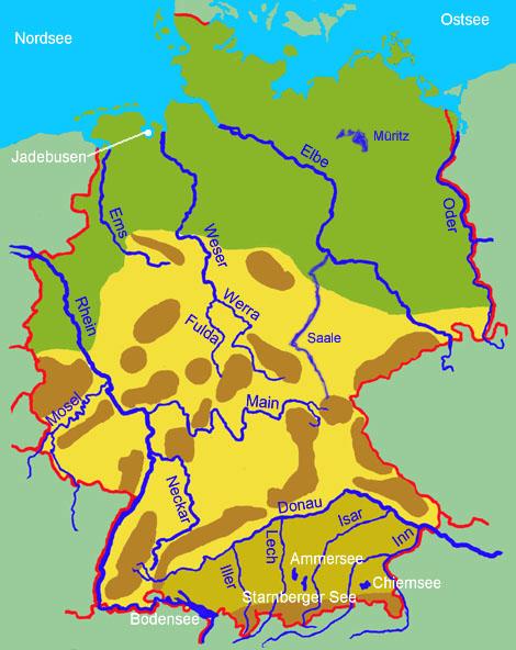 Gewässer auf der karte erkennst du die größten deutschen flüsse