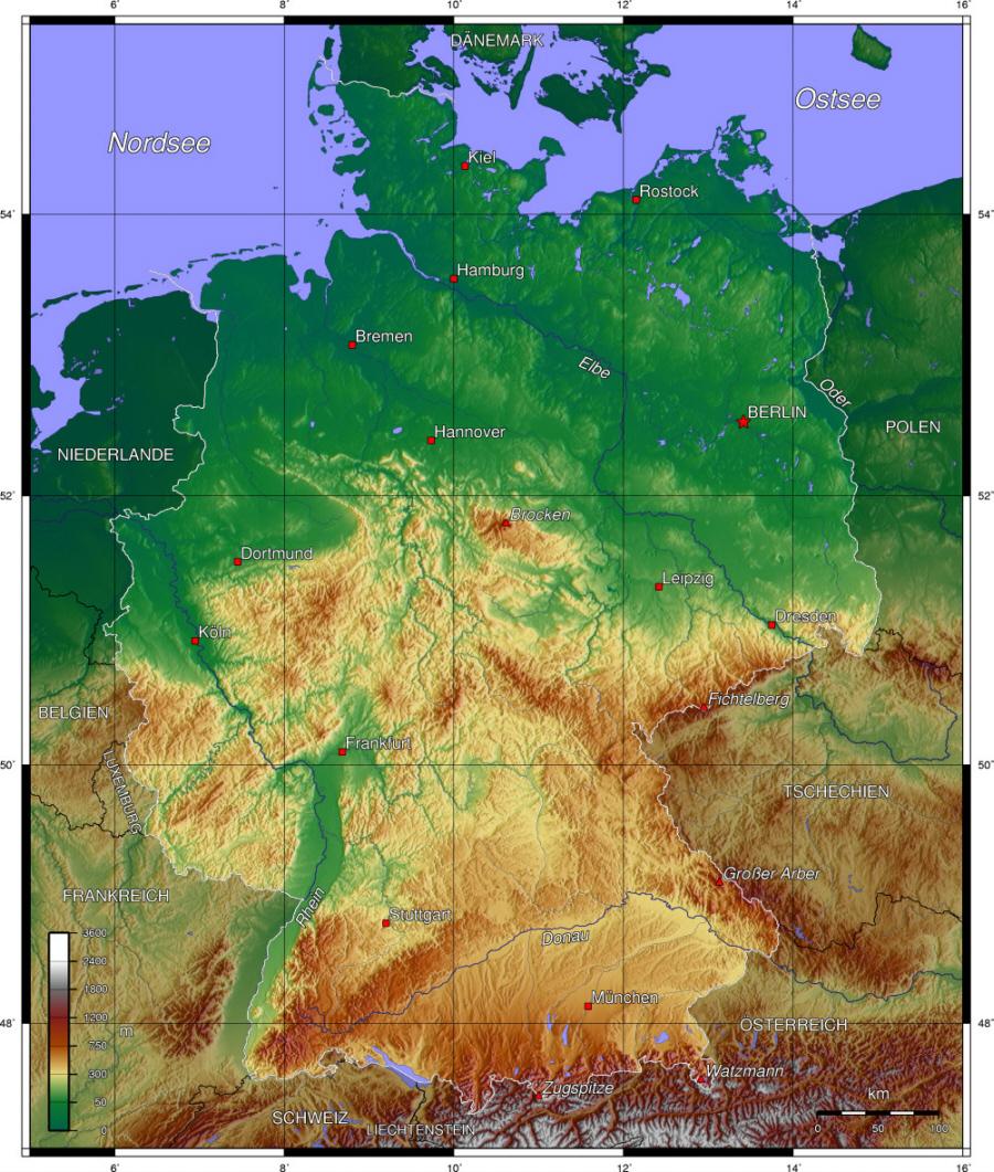 deutsche topographische karte Deutschland   Topographische Karte   Medienwerkstatt Wissen © 2006
