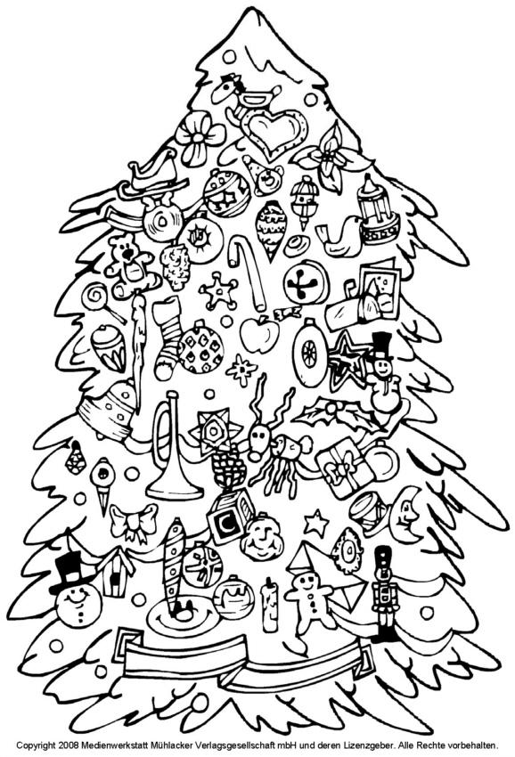 zum ausmalen weihnachtsbaum mit spielzeugbehang