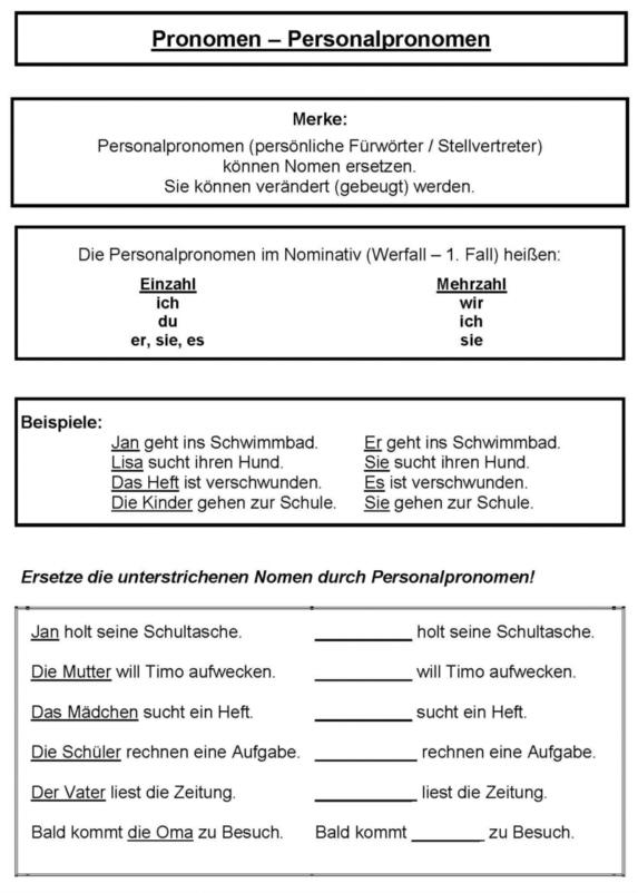 Personalpronomen 3 klasse
