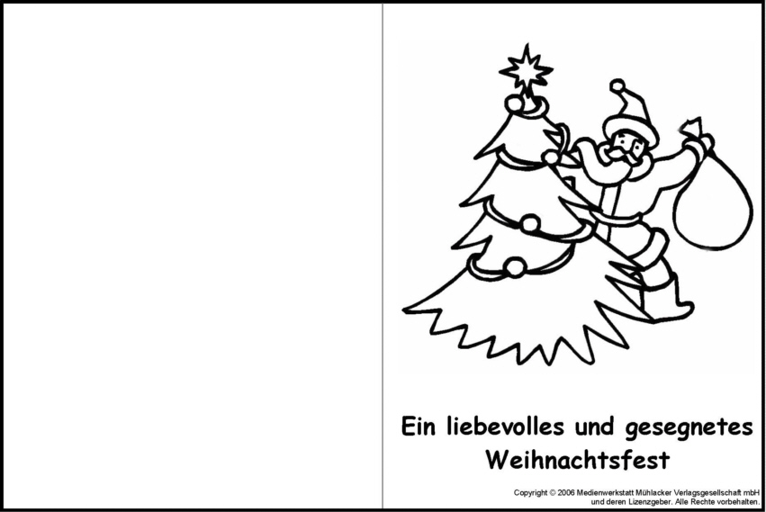 weihnachtskarte zum ausmalen 13 - medienwerkstatt-wissen