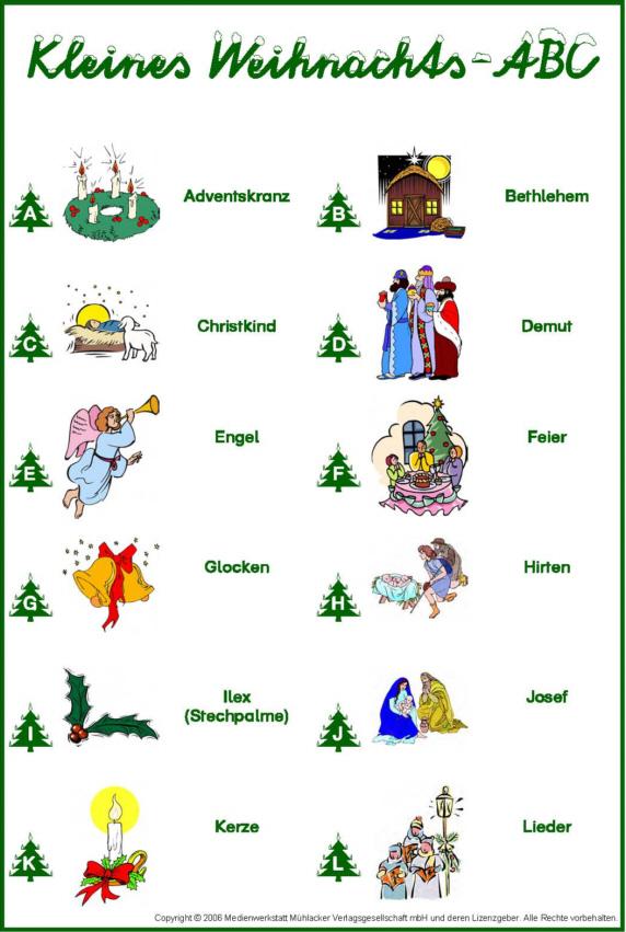 Weihnachtsworter abc