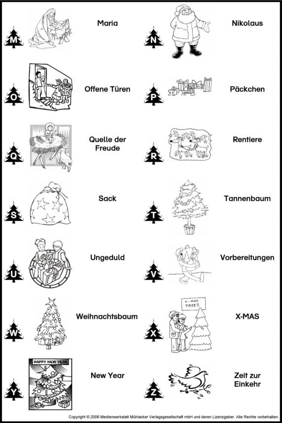 ABC der Weihnachtswörter zum Ausmalen - Medienwerkstatt-Wissen ...