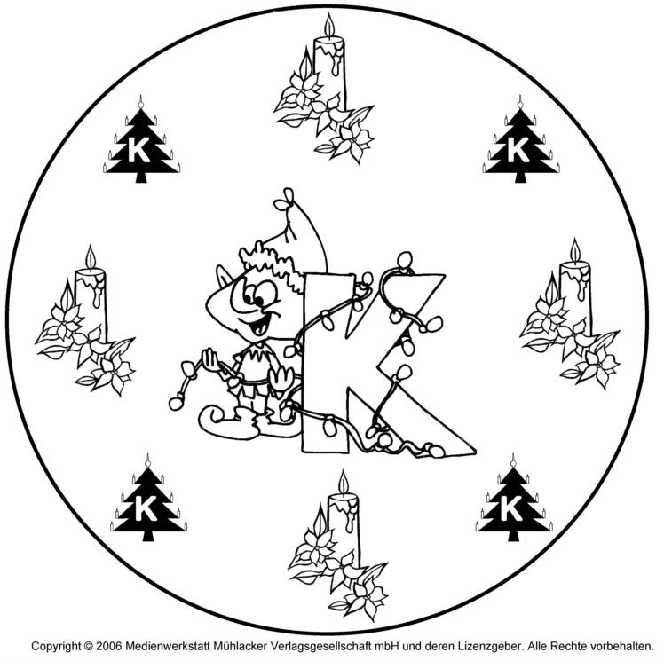 weihnachtswichtelbuchstabenmandala zum k