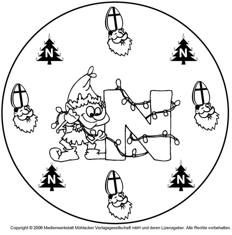 weihnachtswichtelbuchstabenmandala zum n