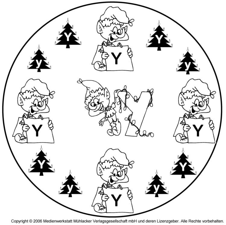 weihnachtswichtelbuchstabenmandala zum y